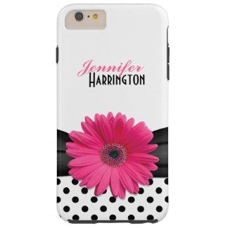 Chic Pink Gerbera Daisy Polka Dot Flower Tough iPhone 6 Plus Case