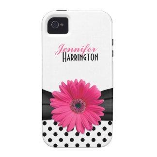 Chic Pink Gerbera Daisy Polka Dot iPhone 4 Case