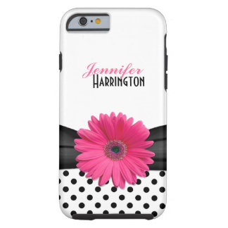Chic Pink Gerbera Daisy Polka Dot iPhone 6 case