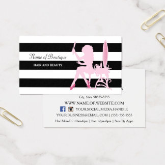 Chic Pink Glitz Girl Black Stripes Hair Boutique Business Card