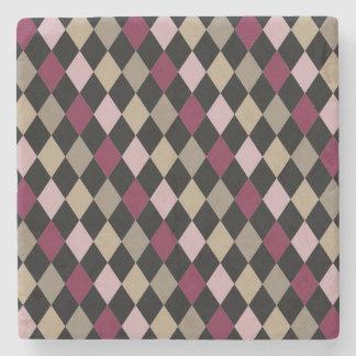 Chic Pink Gold Diamonds Stone Beverage Coaster