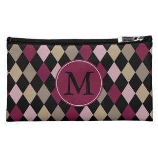 Chic Pink Gold Diamonds monogram Cosmetic Bags