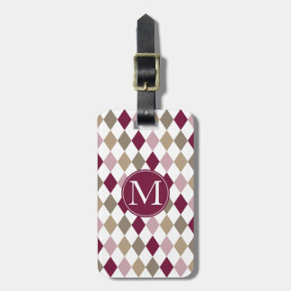 Chic Pink Gold Diamonds Monogram Bag Tags