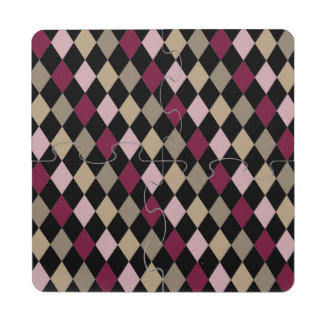 Chic Pink Gold Diamonds Puzzle Coaster