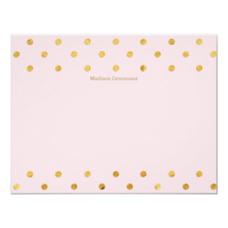"Chic Pink & Gold Polka Dots Custom Flat Note Cards 4.25"" X 5.5"" Invitation Card"