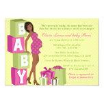 "Chic Pink Green Polka Dot Modern Mom Baby Shower 5"" X 7"" Invitation Card"