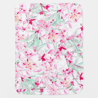 Chic pink green watercolor lilies floral pattern baby blanket