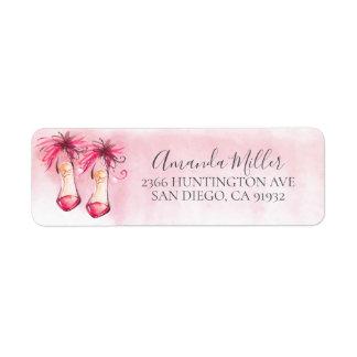Chic Pink Heels Return Address Label