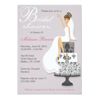 "Chic Pink Modern Bride Contemporary Bridal Shower 5"" X 7"" Invitation Card"