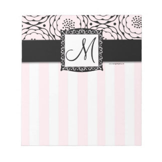 Chic Pink Monogram Stripes Floral Notepad