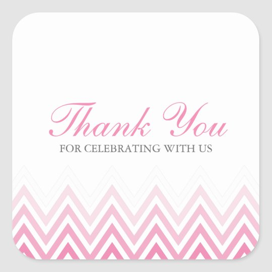 Chic Pink Ombre Chevrons Square Sticker