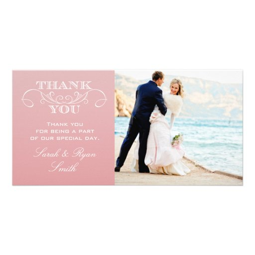 CHIC PINK OMBRE WEDDING THANK YOU CARDS CUSTOMIZED PHOTO CARD