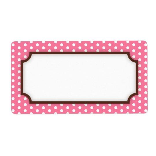 Chic pink polka dot dots pattern blank label shipping label