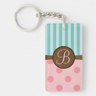 Chic pink polka dots teal stripes monogram Double-Sided rectangular acrylic keychain