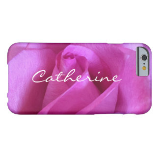 Chic pink purple rose close-up photo custom name barely there iPhone 6 case