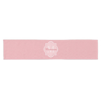 Chic Pink Quatrefoil Monogram With Name Short Table Runner