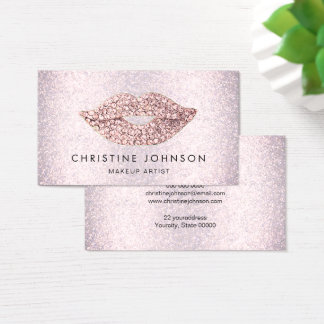 chic pink rhinestone lips on faux pink glitter business card