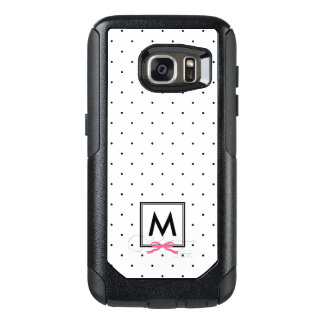 Chic Pink Ribbon Polka Dot Pattern Monogram OtterBox Samsung Galaxy S7 Case