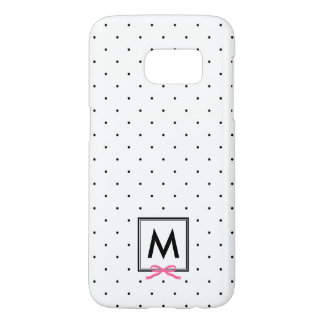 Chic Pink Ribbon Polka Dot Pattern Monogram Samsung Galaxy S7 Case