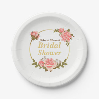 Chic Pink Rose with Gold Circle Wedding Shower Paper Plate