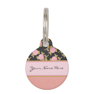 Chic Pink Roses and Gold Leaves on Hearts Pet Tag