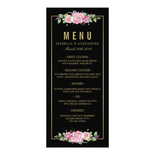 Chic Pink Roses & Gold Black Stripes Wedding Full Color Rack Card