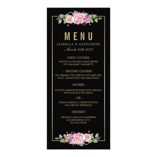 Chic Pink Roses & Gold Black Stripes Wedding Rack Card