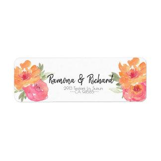 Chic Pink Spring Flower Wedding Return Label