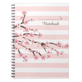 Chic, Pink Striped Cherry Blossom Flower Pattern Notebook
