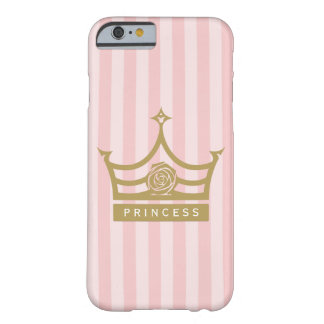 Chic Pink Stripes and Gold Rose Princess Crown Barely There iPhone 6 Case