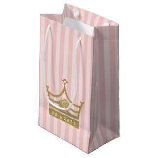 Chic Pink Stripes and Gold Rose Princess Crown Small Gift Bag