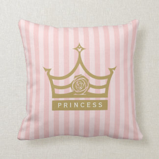 Chic Pink Stripes and Gold Rose Princess Crown Throw Pillow