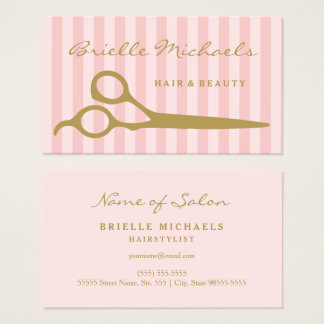 Chic Pink Stripes Gold Scissors Hair and Beauty Business Card