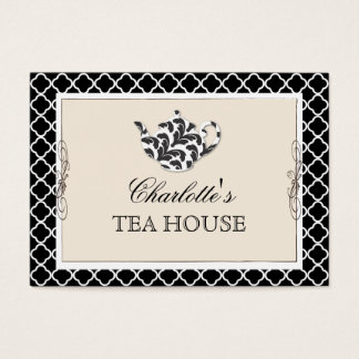 Chic Pink Teapot Tea Cafe Business Card