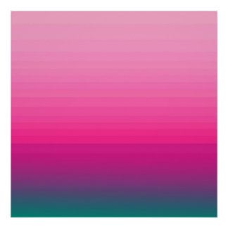 Chic Pink to Teal Color Block Gradient Poster
