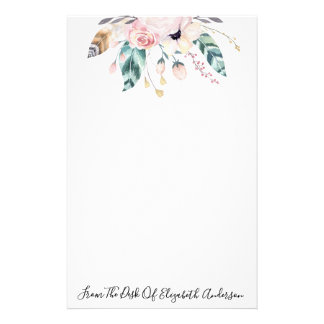 Chic Pink Watercolor Floral & Feather Personalized Stationery