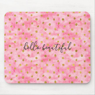 Chic Pink Watercolor Gold Confetti Mouse Pad