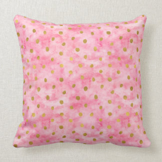 Chic Pink Watercolor Gold Confetti Throw Pillow