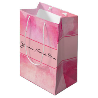 Chic Pink Watercolor Splash with Name Medium Gift Bag