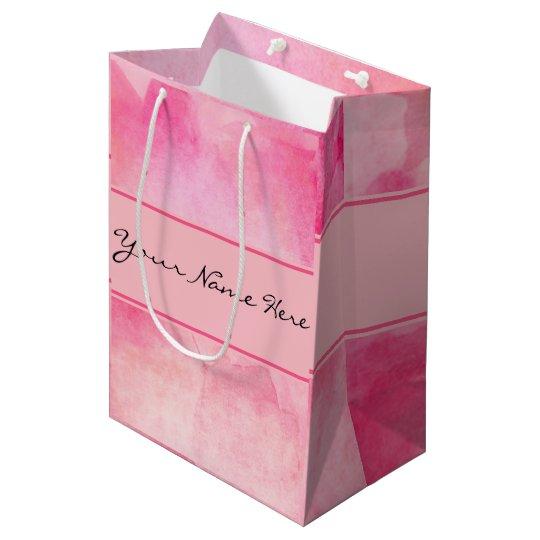 Chic Pink Watercolor Splash with Name Medium Gift Bag