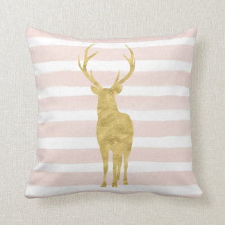 Chic Pink Watercolor Stripes Gold Deer Throw Pillow