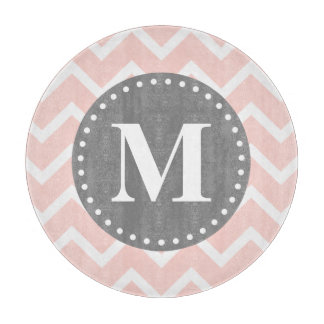 Chic Pink White Gray Zigzag Chevron Monogram Boards