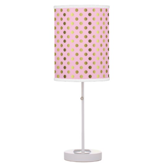 Chic Pink with Gold Tone Polka Dots Table Lamp