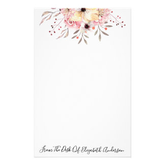 Chic Pink & Yellow Watercolor Floral Personalized Stationery