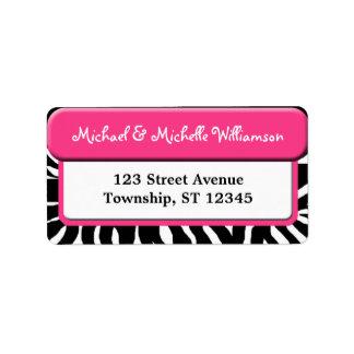Chic Pink Zebra Print Address Labels