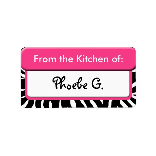 "Chic Pink Zebra Print ""From the Kitchen of"" Labels"
