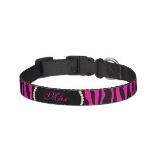 Chic Pink Zebra Print Pearl Name Monogram Pet Collar
