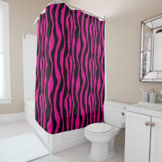 Chic Pink Zebra Print Shower Curtain