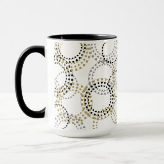 CHIC PLATE_MODERN BLACK/GOLD/GREY CIRCLES AND DOTS MUG