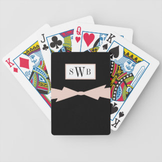 CHIC PLAYING CARDS_BLACK SOLID WITH_PINK BOW POKER DECK